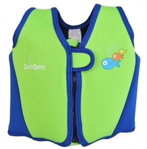 Schwimmweste aus Neopren in Royalblau und Neongrün von Swimbest