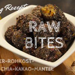 Raw Bites Rezept: Mango-Ingwer-Rohkostbällchen mit Chia-Kakao-Mantel