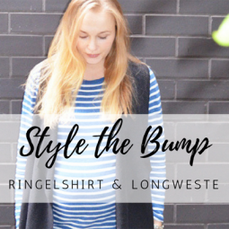 Trend-Look: Maternity Style mit Ringelshirt und Long-Weste