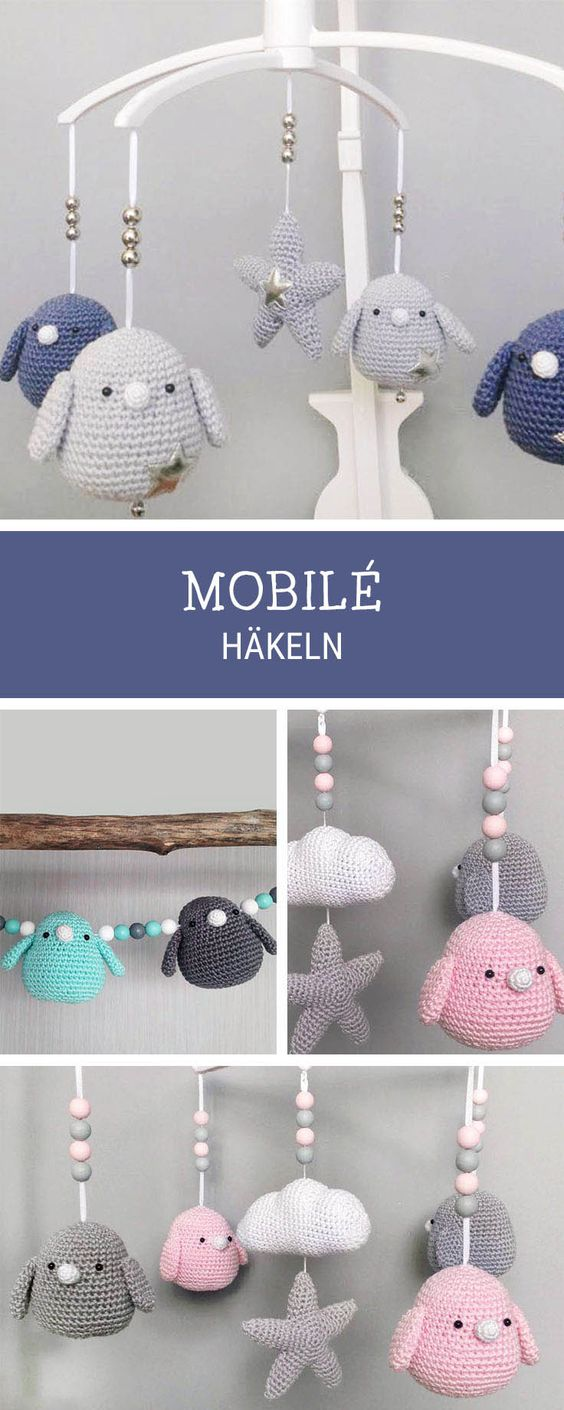 Eitelkeit Baby Mobile Selber Basteln Vorlagen Dekoration Von Gehäkeltes Vogel-mobile