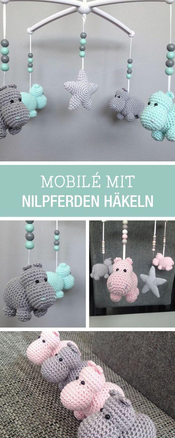 Großartig Baby Mobile Selber Basteln Anleitung Sammlung Von Das Niedliche Nilpferd-mobile