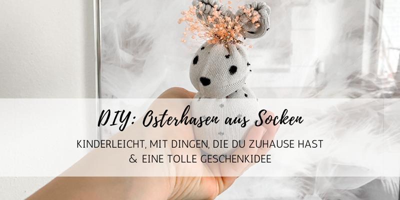 DIY: Süße Osterhasen aus Socken und mit Trockenblumen-Deko